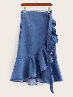 To find out about the Ruffle Hem Asymmetrical Denim Skirt at SHEIN, part of our latest Denim Skirts ready to shop online today! Demin Skirt, Denim Pencil Skirt, Belted Shirt Dress, Colored Denim, Denim Fabric, Skirt Outfits, Denim Fashion, Clothes For Women, Skirts