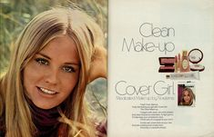"""1970 Beauty Ad, Cover Girl Makeup, with Ingenue Actress & Model Cybill Shepherd, """"Clean Make-up"""" advert) 1970s Makeup, Retro Makeup, Vintage Makeup, Vintage Beauty, Vintage Ads, Makeup Ads, Vintage Fashion, Vintage Trends, Vintage Stuff"""
