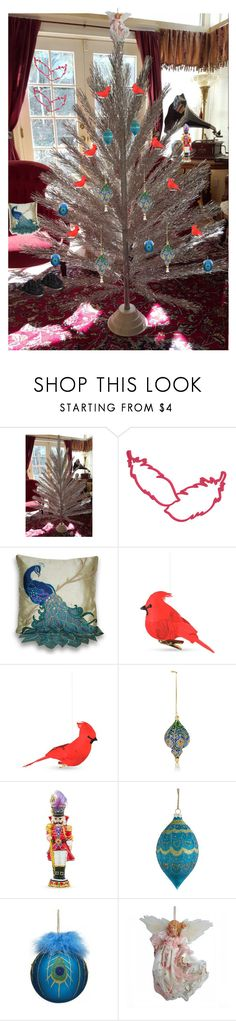 """""""Christmas With Our Feathery Friends"""" by oldsowell ❤ liked on Polyvore featuring interior, interiors, interior design, home, home decor, interior decorating, Thro, Value Arts, Christopher Radko and Home Decorators Collection"""