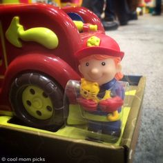 B Toys firetruck for toddlers featuring a male and female firefighter
