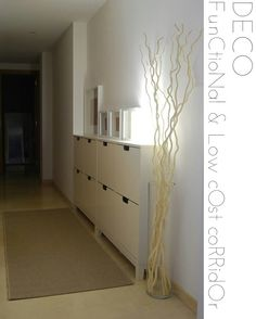 Tall glass vase with branches and mini lights-perfect way to perk up an boring empty corner of the living room. Home Staging, Ikea Decor, Hallway Storage, Ikea Furniture, Apartment Living, Home Organization, Room Inspiration, Creative Inspiration, Home And Living