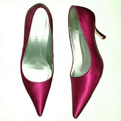 "Fuschia Satin Pumps Pump it up for the holidays or in the summer time! They were never worn and the only reason they got peeled a bit on the inside is because of the wooden ""pointy-toe-keeper"" my mom USED to use on her shoes to keep the shape...it obviously had to be thrown out. But the rip cannot be seen at all when worn! Nine West Shoes Heels"