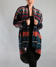 Take a look at this Teal Cheyenne Open Cardigan by Voom on #zulily today!