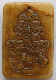 Chinese Old Jade Hand Carved Longevity Dragon peaches(ChangShou) Pendant QZ217