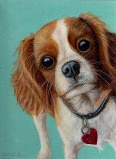 Cavalier King Charles Spaniel Painting - Original Oil 9x12 in Black Wood Frame - Dog Painting - Dog Art - 10% Benefits Animal Charities. $625.00, via Etsy.