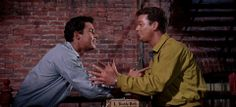 """West Side Story"" - Tony (Richard Beymer) tells Riff (Russ Tamblyn) that 'Somethings Coming'"