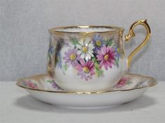 Vintage Royal Albert Bone China Tea Cup Saucer White Floral Design