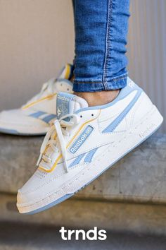 The Reebok Club C Revenge court shoe evens the score on timeless style! The clean look and the high-quality materials add a vintage vibe to these tradition Club C 85 Vintage, Reebok Club C, Yellow Sneakers, Sneaker Stores, Court Shoes, Fashion Games, Timeless Fashion, White Leather, Iphone Wallpaper
