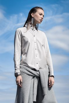 Rag & Bone leather top with Equipment's cashmere and wool sweater in Fall 2016's Shirt Tales trend.