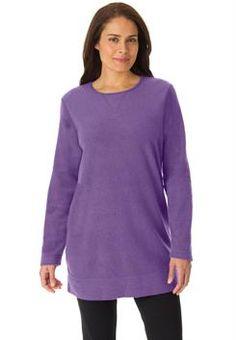 Plus Size Top, sweatshirt in cozy, light sherpa fleece