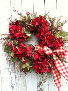 Red Country Christmas Wreath Country Wreath by marigoldsdesigns, $67.00