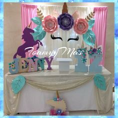Unicornio 10th Birthday Parties, Birthday Diy, Birthday Party Decorations, Girl Birthday, Party Fiesta, Unicorn Party, Holidays And Events, First Birthdays, Party Time