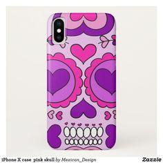iPhone X case  pink skull