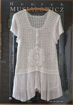 cotton white  tunic, vintage, upcycled clothing, crochet, white lace on Etsy, Sold
