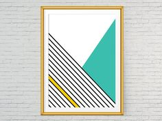 Geometric art poster, Printable, Black lines, Teal and yellow, Living room art, Office printable wall art, Modern print