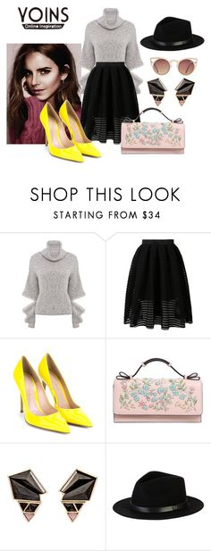 """♡ Grey High Neck Jumper by YOINS (prize) ♡"" by angelgoddess10 ❤ liked on Polyvore featuring Emma Watson, Gianvito Rossi, RED Valentino, Nak Armstrong, Brixton and Quay"