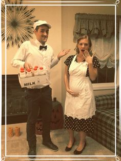 Milkman and housewife costumes #pregnancy #pregnancycostume #halloween #milkman #housewife