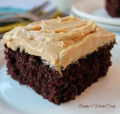 Homemade Chocolate Cake With Peanut Butter Frosting! This is a spectacular old fashioned homemade cake. Chocolate and coffee together give you a delicious mocha flavor. The texture is very soft and moist. The cake is the star, the Peanut Butter Frosting just makes it that much more delicious!