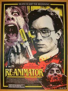 "Re-Animator - silkscreen movie poster (click image for more detail) Artist: James Rheem Davis Venue: N/A Location: N/A Date: 2013 Edition: 175; numbered Size: 18"" x 24"" Condition: NM+ (tiny corner bum"