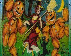 Vintage Halloween Art Handmade Recycled Tile Coaster
