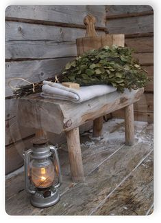 "---""The traditional 'vasta' (birch branches), 'kiulu' (wooden bucket) and linen to sit on, natural soap and a lantern to light up the path to the sauna in the darkness ; Outdoor Sauna, Outdoor Decor, Sauna Shower, Sauna Design, Finnish Sauna, Sauna Room, Primitive Furniture, Home Spa, Cabins In The Woods"
