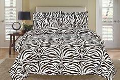 Zebra Black and White Down Alternative Comforter Set