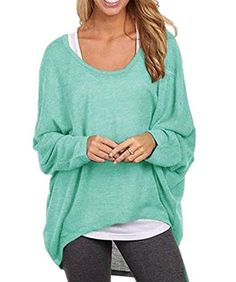 TOUQIANMAO Women's Sexy Long Batwing Sleeve Loose Pullover Casual Top Blouse T-Shirt Large Green   Special Offer: $12.99      455 Reviews Machine Washable (Recommended Hand Wash)Note: Asian sizes are smaller than US sizes.Advise buy 1-2 size Larger.Material:30% cotton   70%...