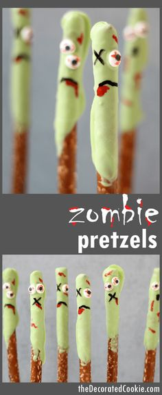 An easy Halloween treat -- The Walking Dead fun food idea Halloween party food: Zombie pretzels! Easy treat to make for Halloween or a Walking Dead party. Theme Halloween, Halloween Dinner, Halloween Food For Party, Halloween Desserts, Halloween Birthday, Halloween Cupcakes, Holidays Halloween, Easy Halloween, Pastries