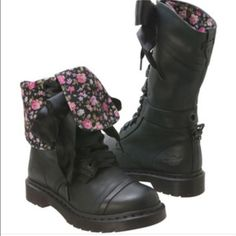 FLASH SALE Dr. Martens Triumph lace ups boots Doc martens triumph 1914 lace up boots in black and foldover to floral (it is a greenish black). Has the satin ribbon laces. Excellent condition only worn a few times!  Very comfortable!! Open to offers! Dr. Martens Shoes Combat & Moto Boots