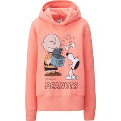 UNIQLO Peanuts Long Sleeve Sweat Pullover Hoodie (4.005 CRC) ❤ liked on Polyvore featuring tops, hoodies, jackets, shirts, cotton hooded sweatshirt, long sleeve pullover shirts, pullover hoodies, cotton shirts and cartoon shirts