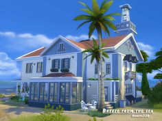 This beautiful house by the sea can be used not only for holidays, but all year round.  Found in TSR Category 'Sims 4 Residential Lots'