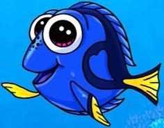 Dory Kawaii Doodles, Kawaii Chibi, Cute Chibi, Kawaii Girl Drawings, Disney Drawings, Cartoon Drawings, Kawaii Disney, Amazing Drawings, Cute Drawings