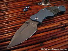 Sniper Bladeworks blue anodized Titanium LPC with Mammoth ivory insert