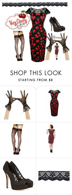 Very Cherry Lace Dress by modern-grease on Polyvore featuring Fantasy, Dolce&Gabbana and lacedress