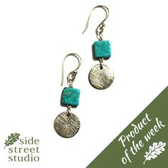 STERLING SILVER DROP EARRINGS WITH TURQUOISE   A lovely, feminine range from Jenny Miller of Victoria B.C.  Sterling silver drop earrings with Turquoise drop gemstones.  Length: 1.75 inches