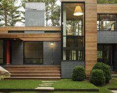 Fachada com janelas, madeira e vidro #home