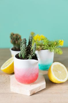 DIY ombre plant pot