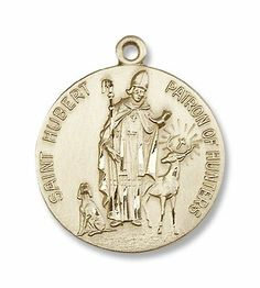 Hubert of Liege Pendant 14kt Gold Filled St 18in Gold Filled Light Curb Chain Patron Saint Archers//Hunters//Dogs 1 x 1//2