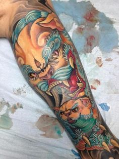 Complete Right Side Foo Dog Tattoo - http://99tattooideas.com/complete-right-side-foo-dog-tattoo/ #tattoo