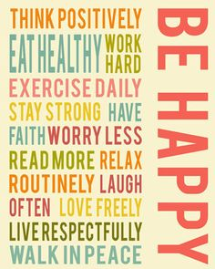 Be happy positive life quotes, words to live by, inspirational wall art, colorful, living room decor, art prints, housewares on Etsy, 11,10 €