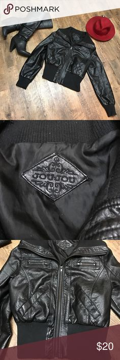 """Joy Jou Faux Leather Black Moto Jacket Size Large Adorable preloved Black faux lather Jou Jou Moto style jacket- Size Large very comfy and cozy - 2 zipper pockets and 2 regular pockets - shows signs of pilling on very ends of sleeves, bottom of jacket and around collar - this jacket still has lots of life in it, I just no longer wear it - originally purchased from Nordstrom - good condition - approx 19 1/2"""" from underarm to underarm & 21"""" from top of shoulder to bottom of jacket Jou Jou…"""