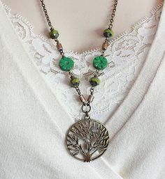 Green Czech Glass Bead and a Brass Tree Bead by carolinascreations