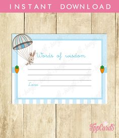 New to TppCardS on Etsy: Instant Download Blue Bunny Baby Shower Advice Cards Printable Rabbit Words of Wisdom Blue Bunny Advice for New Parents (3.00 EUR)