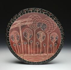 Marcy Neiditz-  sgraffito platter Sgraffito, Ceramic Artists, Platter, Surface Design, Decorative Plates, Clay, Ceramics, Sculpture, Abstract