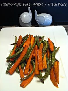 Balsamic-Maple Sweet Potatoes and Green Beans - Roasted together and tossed with sweet maple syrup, tangy balsamic vinegar and herbs ~ The Complete Savorist