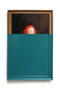 "2014 oil on canvas dipped in enamel 44 1/2"" x 28.5"""
