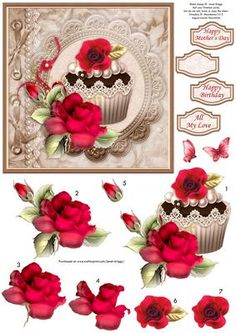 VINTAGE ROMANTIC CUPCAKE Card Topper Decoupage on Craftsuprint designed by Janet Briggs - Romantic card topper, featuring cupcake and roses, with a vintage feel. Several layers of decoupage for added depth.4 sentiment tags, including one blank. The others read,Happy BirthdayAll My LoveHappy Mother's DaySuitable for Valentine's Day, Mother's Day, wedding anniversary or a romantic birthday for husband, wife, boyfriend, girlfriend or partner. - Now available for download!