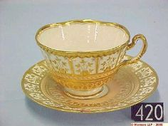 Worcester Flight Barr and Barr Gold and Salmon Pink Coffee Cup. Tea Cup and Saucer