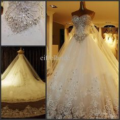 Lace Vintage Wedding Dresses Custom Luxury Wedding Dress Real Photo 2015 Amazing Bling Crystal Dresses Sexy Sweetheart Stunning Lace Applique Cathedral Train Bridal Gown Wedding Dresses Los Angeles From Eiffelbride, $314.14| Dhgate.Com