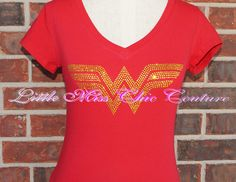 Wonder Woman Bling by LittleMissChicCoutur on Etsy, $28.00 Size XL Scoop Neck to accommodate my boobs!